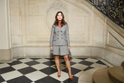 Jenna-Louise Coleman opted for a gray tweed short suit by Dior when she attended the brand's Fall 2019 show.