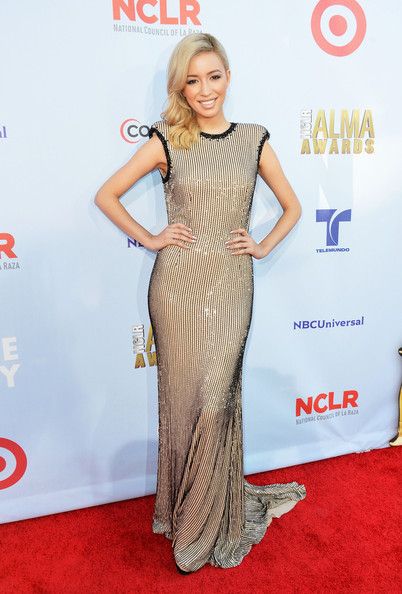 Christian Serratos Beaded Dress