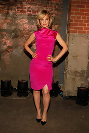 Mena Suvari was smoking in this hot pink satin dress at the Christian Siriano show in NY.