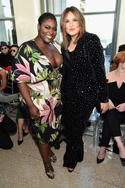 Mariska Hargitay glittered in an embellished black velvet pantsuit by Christian Siriano during the brand's fashion show.