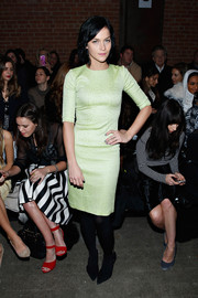 Leigh Lezark donned a simple yet classy lime-green sheath for the Christian Siriano fashion show.