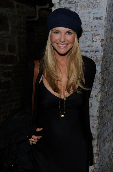 Christie Brinkley Knit Beanie [last play at shea,beauty,lady,blond,fashion,little black dress,smile,headgear,dress,long hair,hat,christie brinkley,675 bar,new york city,party,tribeca film festival,party]