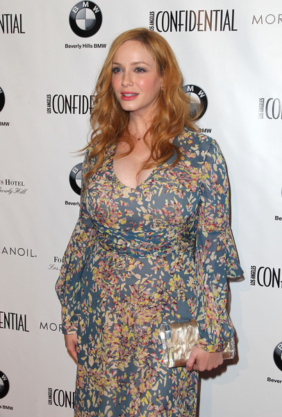 Christina Hendricks Hard Case Clutch [magazine,clothing,dress,hairstyle,premiere,fashion,carpet,red carpet,long hair,cocktail dress,fashion design,christina hendricks,los angeles confidential magazine and cover star,christina hendricks celebrate women of influence issue,los angeles,beverly hills,california,four seasons hotel,los angeles confidential,issue celebration]