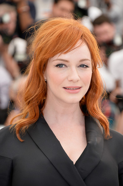 Christina Hendricks Medium Wavy Cut with Bangs