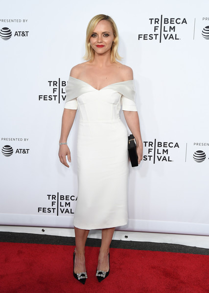 Christina Ricci Off-the-Shoulder Dress [clive davis: the soundtrack of our lives,photo,dress,clothing,shoulder,cocktail dress,white,red carpet,carpet,joint,fashion model,hairstyle,christina ricci,angela weiss,new york city,afp,tribeca film festival,premiere concert,opening night,world premiere]