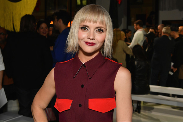 Christina Ricci Short Cut With Bangs [face,blond,fashion,beauty,hairstyle,event,dress,premiere,smile,christina ricci,front row,new york city,calvin klein collection,new york fashion week,fashion show]