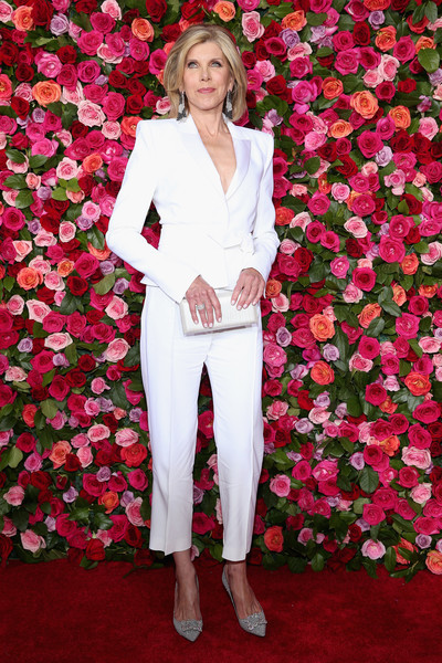 Christine Baranski Metallic Clutch [red carpet,flower,pink,flooring,carpet,fashion,red carpet,rose,fashion model,rose family,flower arranging,christine baranski,tony awards,radio city music hall,new york city,annual tony awards]