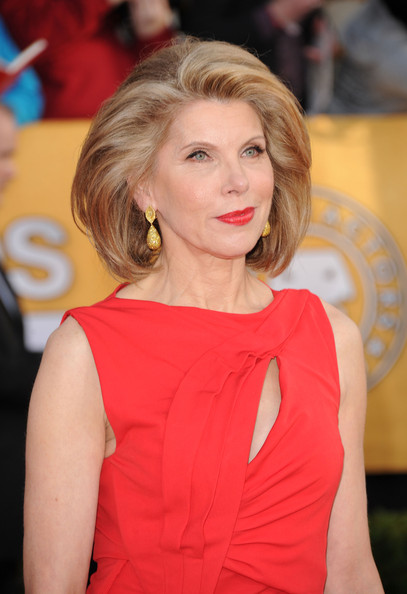Christine Baranski Dangling Diamond Earrings [hair,hairstyle,beauty,blond,shoulder,premiere,fashion,long hair,lip,dress,arrivals,christine baranski,screen actors guild awards,los angeles,california,the shrine auditorium,17th annual screen actors guild awards]