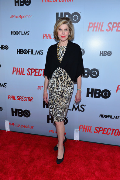 Christine Baranski Print Dress [clothing,red carpet,premiere,carpet,dress,fashion,footwear,event,flooring,cocktail dress,arrivals,phil spector,christine baranski,new york,time warner center,premiere]