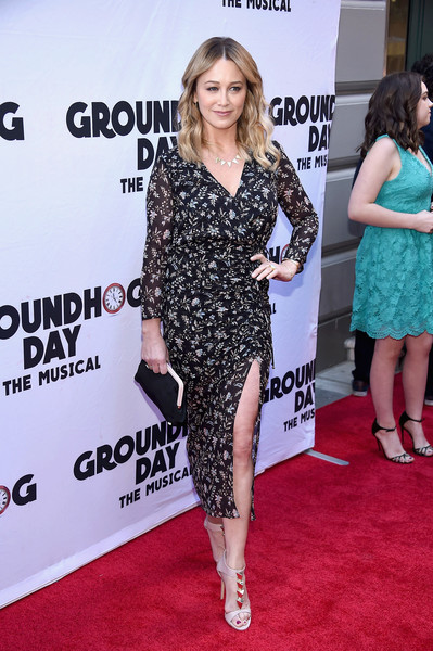 Christine Taylor Frame Clutch [groundhog day,red carpet,clothing,carpet,dress,premiere,hairstyle,fashion,footwear,long hair,flooring,christine taylor,curtain call,new york city,august wilson theatre,opening night - arrivals,opening night]