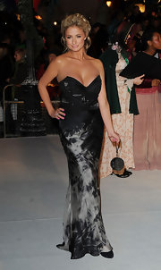 Chantelle's black silk strapless gown stands out from the rest with an interesting tie-dyed effect.