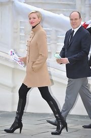 Princess Charlene of Monaco stepped out in a pair of black, knee-high, leather boots.