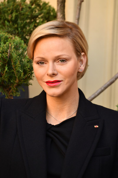 Charlene Wittstock wore her hair in a neat bob during the Christmas gifts distribution at Monaco Palace.