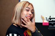 Jordyn Woods showed off her nail art at the Chromat Spring 2018 show.