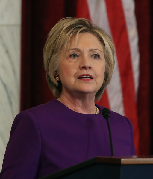 Hillary Clinton attended a portrait unveiling ceremony wearing her hair in a classic bob.
