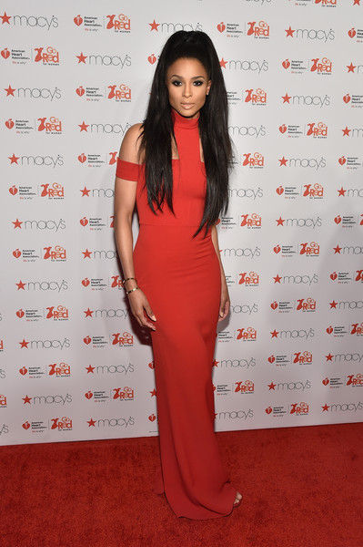 Ciara Evening Dress [red,fashion model,flooring,shoulder,carpet,dress,long hair,fashion,red carpet,formal wear,go red for women red dress collection 2015,ciara,lincoln center,new york city,american heart association go red for women red dress collection,macys,red carpet,mercedes-benz fashion week,fashion show]
