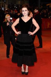 Helena Bonham Carter kept it classic at the BIFF 'Cinderella' premiere in a Balmain LBD with alternating velvet and mesh panels.