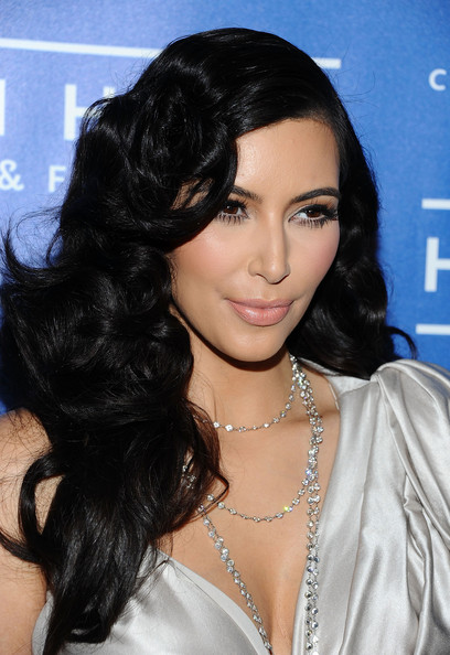 More Pics of Kim Kardashian Long Curls (1 of 10) - Long Curls Lookbook - StyleBistro
