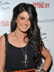 Shenae Grimes paired her tank top with a silver cross pendant neckalce at the screening of 'The Art of Getting By.'