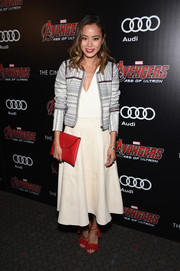 Jamie Chung teamed a sporty-chic Tularosa cropped jacket with a V-neck top and a full skirt for the 'Avengers: Age of Ultron' screening.