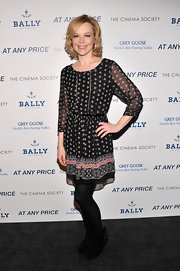 Emily Bergl's printed dress gave her a cool bohemian look a the 'At Any Price' screening in NYC.