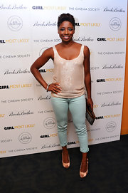A pair of baby blue cigarette pants kept Montego's look fun and flirty.