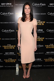 Hilary Rhoda wore this nude sheath dress to the NY screening of 'The Hunger Games.'