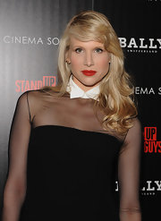 Lucy Punch contrasted her dark outfit with bright red lips at the 'Stand Up Guys' premiere.