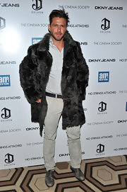 Lorenzo opted for a long fur coat over a tame ensemble for the 'No Strings Attached' premiere.