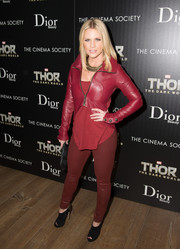 Carrie Keagan obviously loves her reds, as this cropped leather jacket and blouse combo at the 'Thor' screening proves.