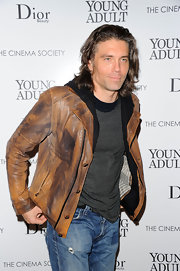 Anson Mount's faded brown leather jacket with black trim went perfectly with his trademark flirty smirk as he attended a screening of 'Young Adult.'