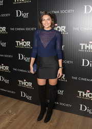 Alyssa Miller paired her top with a black mini skirt for a sexier, chicer finish.