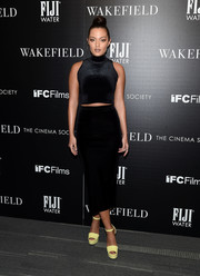 Mia Kang showed off her figure in a tight, cropped turtleneck at the screening of 'Wakefield.'