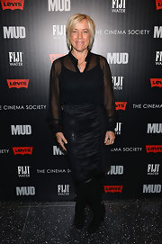 Sarah Green's loose sheer top gave her a slightly edgy red carpet look at the screening of 'Mud.'