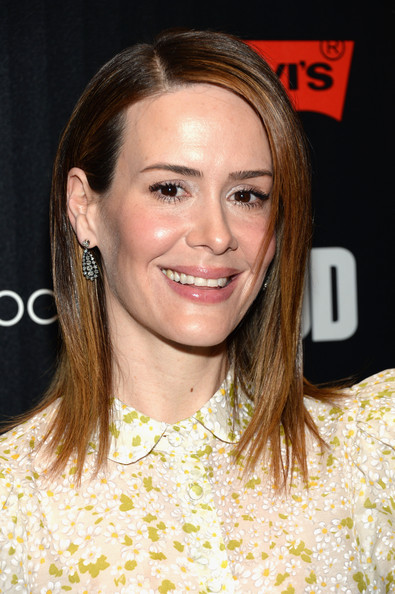 More Pics of Sarah Paulson Medium Straight Cut (1 of 13) - Shoulder Length Hairstyles Lookbook - StyleBistro