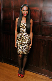 Tika Sumpter looked striking and sophisticated in a leopard-print sheath dress at the 'Alex Cross' screening.