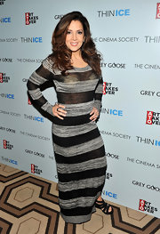 Maria Canals-Berrera wore a striped maxi-dress for the screening of 'Thin Ice.'