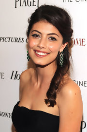 Alessandra Mastronardi's hair had a girly charm with its half up half down 'do.
