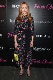 AnnaSophia Robb was ultra-feminine in a floral midi dress by Vivetta at the premiere of 'Freak Show.'