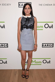 KK Glick donned a striped Self-Portrait mini dress with an embroidered bodice for the season 3 premiere of 'Odd Mom Out.'