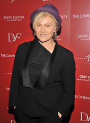 Deborra Lee Furness added some color with this purple cap.
