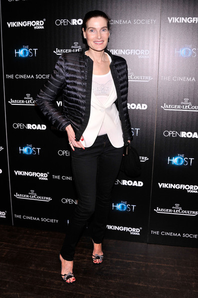 Jennifer Creole chose a more dressed-up, satin puffa jacket for her red carpet look at 'The Host' NYC screening.