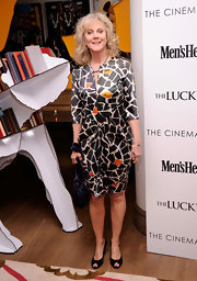 Blythe Danner donned this playful print shirt dress to the screening of 'The Lucky One' in NYC.