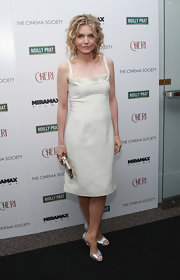 Michelle Pfeiffer paired silver evening sandals with her dress for a totally elegant finish.