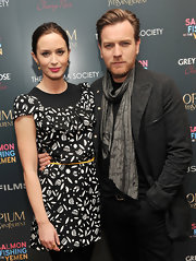 Emily Blunt attended a screening of 'Salmon Fishing in the Yemen' wearing a pear-shaped pink tourmaline and diamond ring.