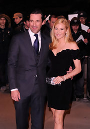 Jennifer Westfeldt attended the screening of 'Friends with Kids' carrying an intricate gemstone-inlaid clutch.