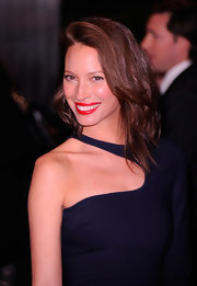 Christy Turlington attended a screening of 'Friends With Kids' wearing her long hair tousled and side-swept.