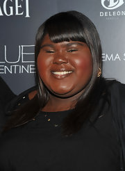 Gabourey Sidibe showed off her shoulder length straight cut and blunt cut bangs.