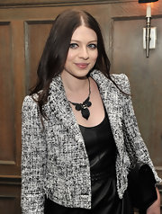 Michelle Trachtenberg wore a black nouveau noir necklace to a screening of 'W.E.'