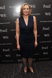 Kim Cattrall was elegant in blue at the 'W.E.' screening in NYC. The starlet topped off her look with gold stilettos.